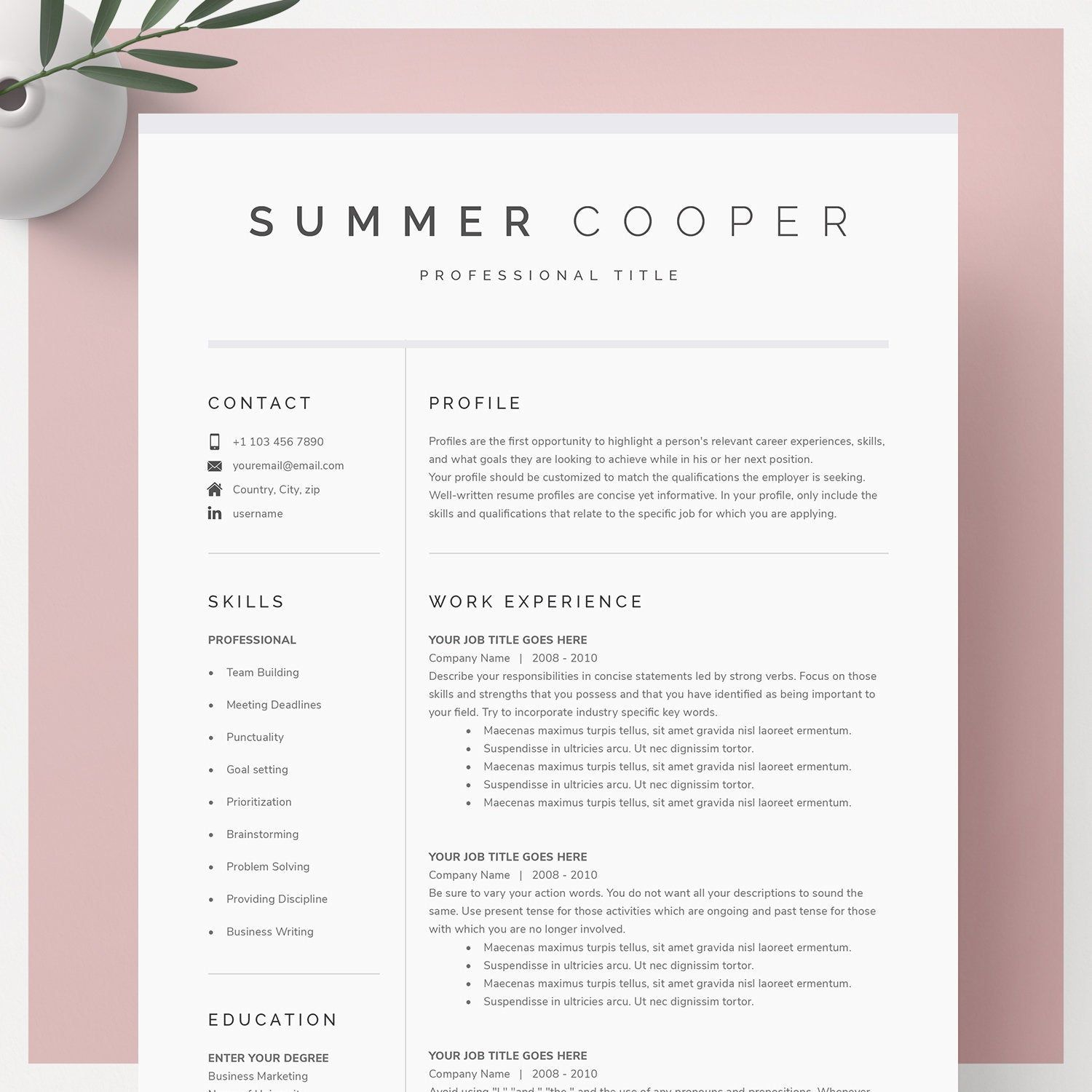 Modern Resume Template For Google Docs Microsoft Word Mac Etsy In 2021 Letter Template Word Modern Resume Template Cv Template