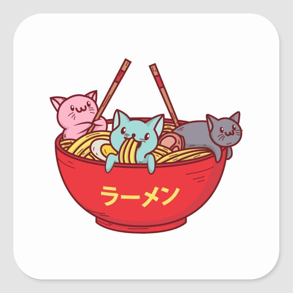 Kawaii anime cat funny adorable japanese ramen square