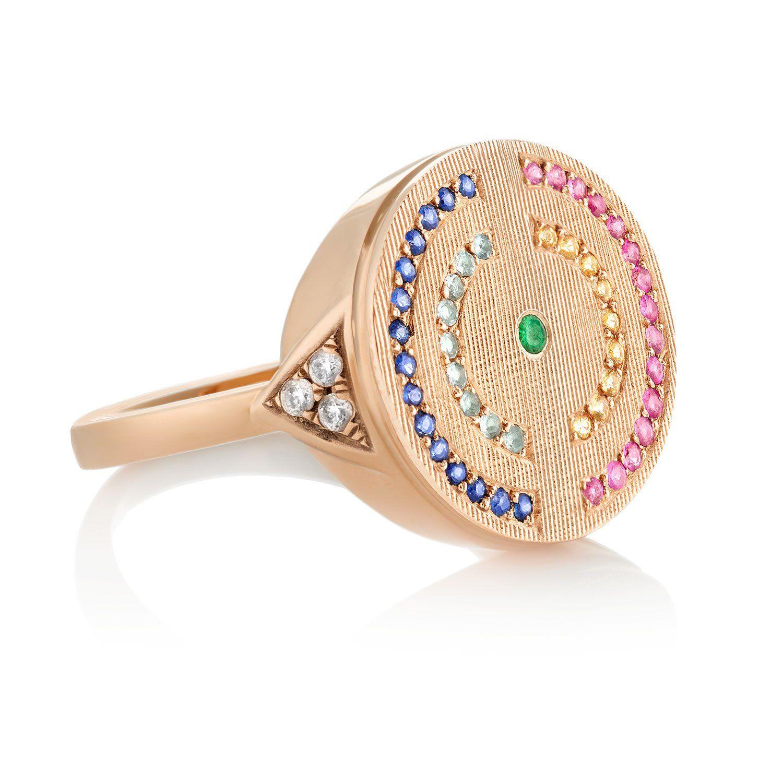 English Garden Signet Ring in 18K Gold - Rose Gold / Florentine