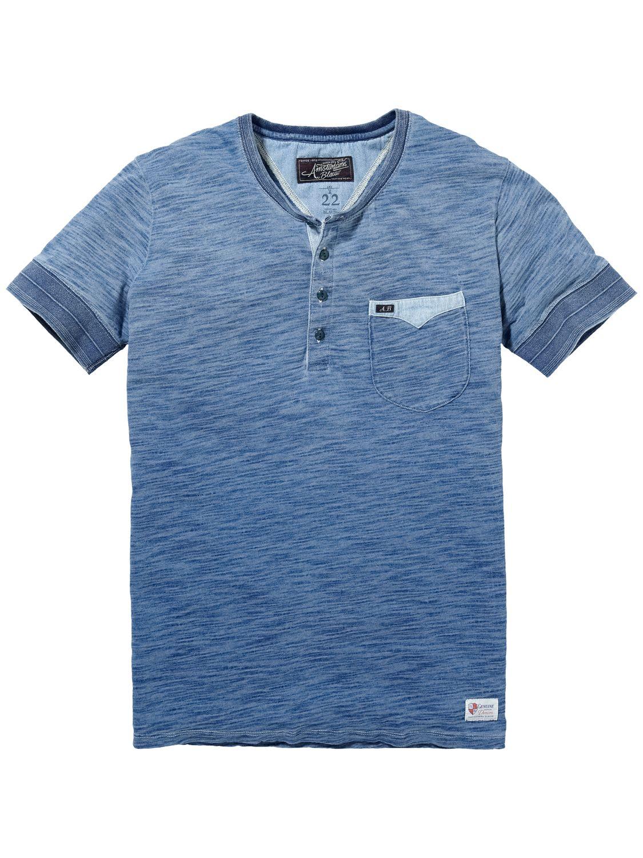 Indigo granddad-shirt met korte mouwen|T-shirt s/s|Mannenkleding