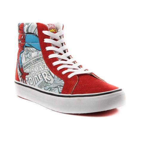 63b5f6f50030 Shop for Vans Sk8 Hi Spider-Man Skate Shoe in RedWhite at Journeys Shoes.  Shop today for the hottest brands in mens shoes and womens shoes at Journeys .com.