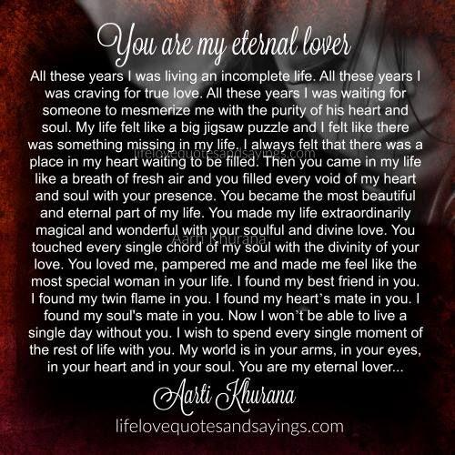 You Are My Eternal Lover Jpg 500 500 Pixels Soulmate Love Quotes Love Quotes Romantic Love Quotes