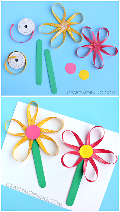 cute craft stick flower craft ribbon flowers on a stick craft for to 6432