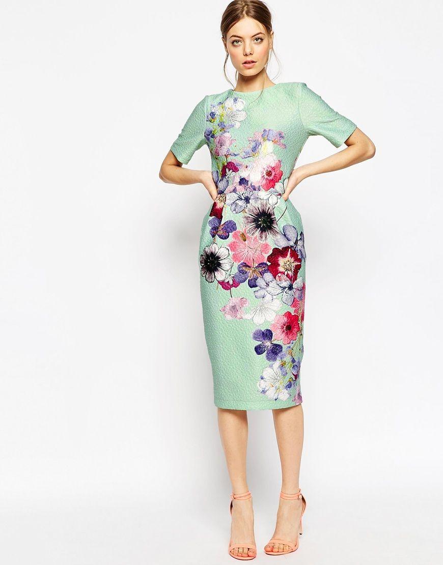 Image 1 - ASOS - Robe fourreau texturée à imprimé fleurs tendance