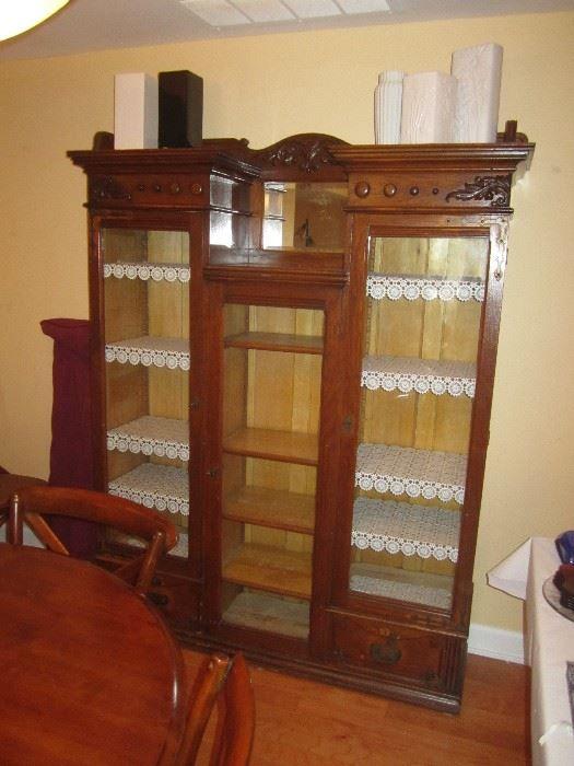 Found on EstateSales.NET: Large Oak antique china curio ...