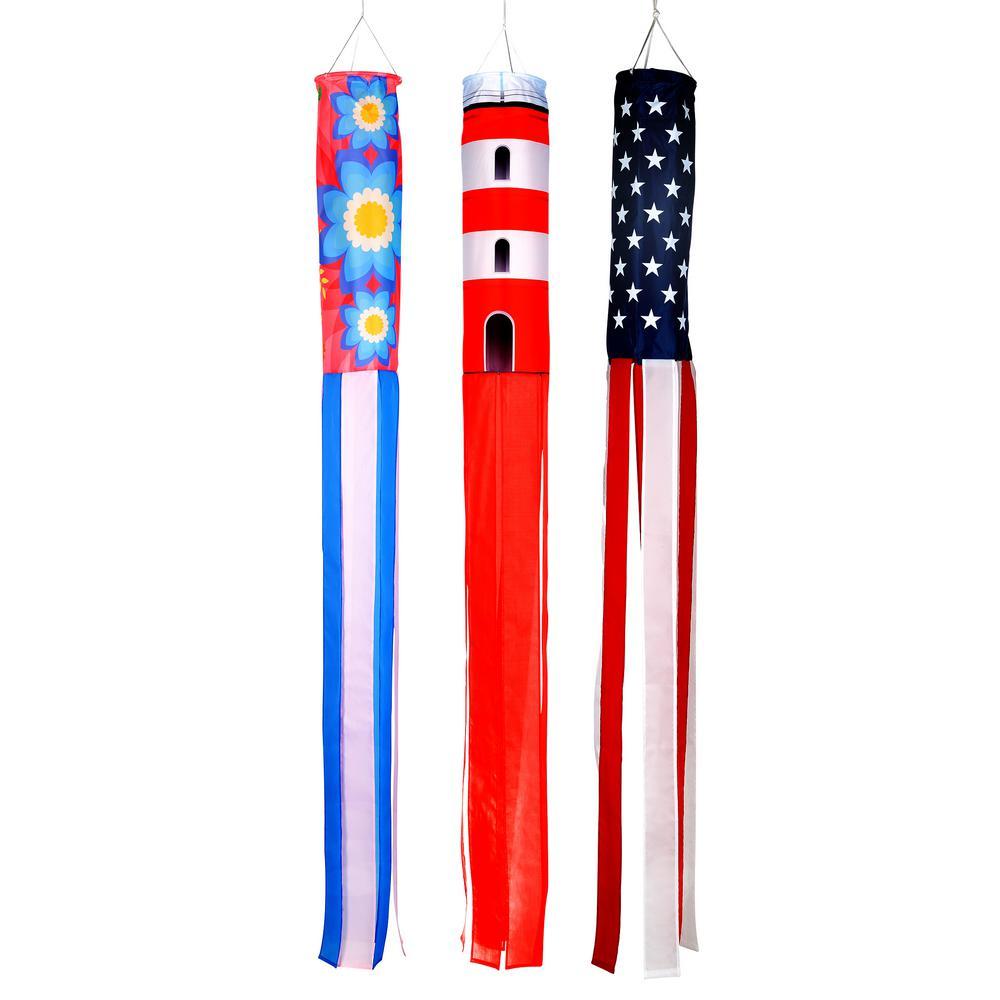Trademark Innovations 60 In Summer Season Windsocks Flowers Lighthouse And U S Flag Set Of 3 Windsock Fllt60 The Home Depot In 2020 Wind Sock Summer Season Flags Windsocks