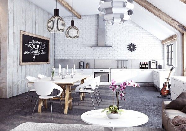 Miysis- painted white brick open plan kitchen living dining interior