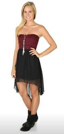 Strapless High Low Dress With Tribal Bodice Cute Combat Boots
