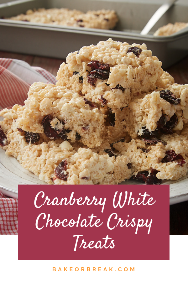 Cranberry White Chocolate Crispy Treats Cranberry White Chocolate Crispy Treats are simple yet fantastic twist on classic rice crispy treats. Love this flavor combination!