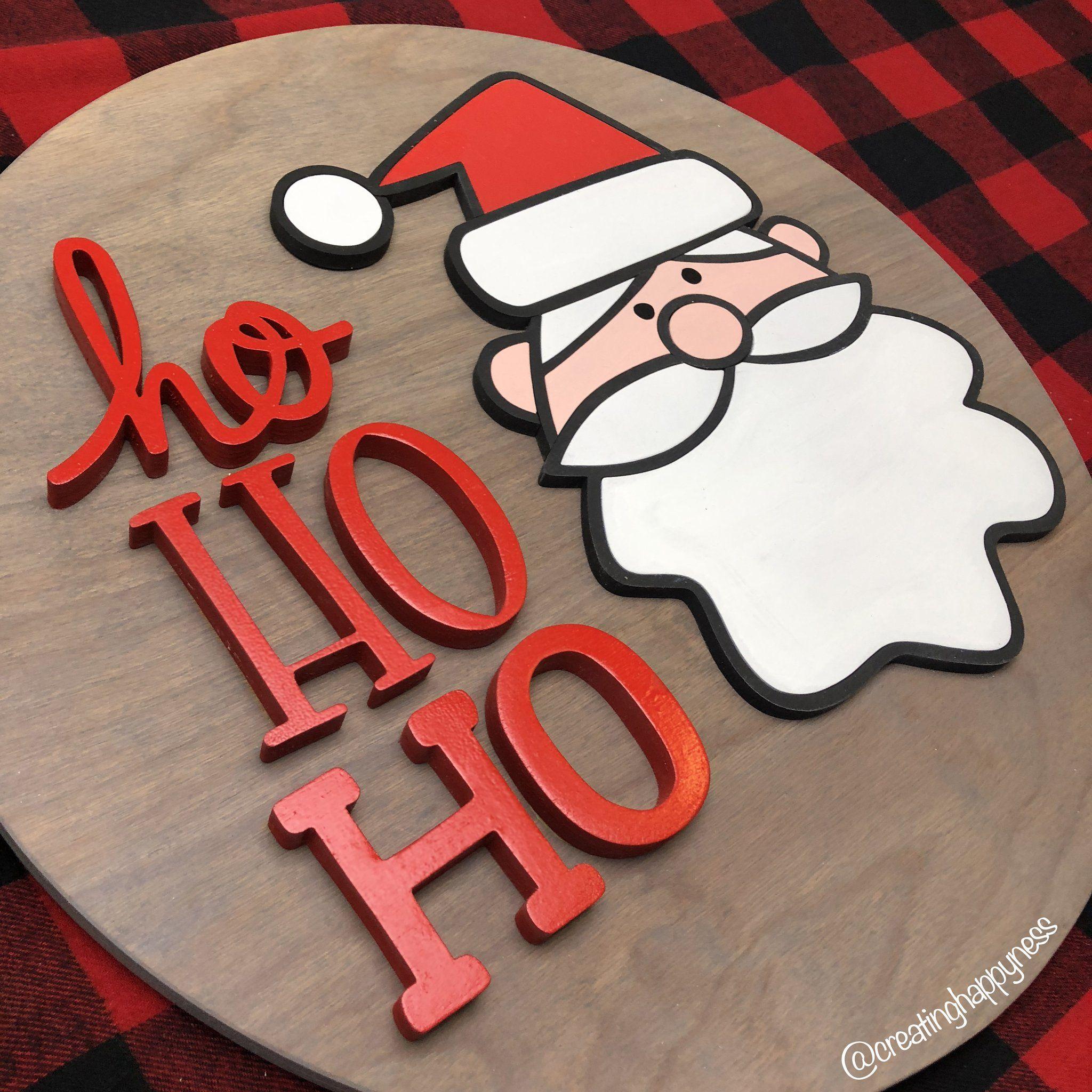 "/""Ho Ho Ho/"" Christmas decoration freestanding wooden letters sign"