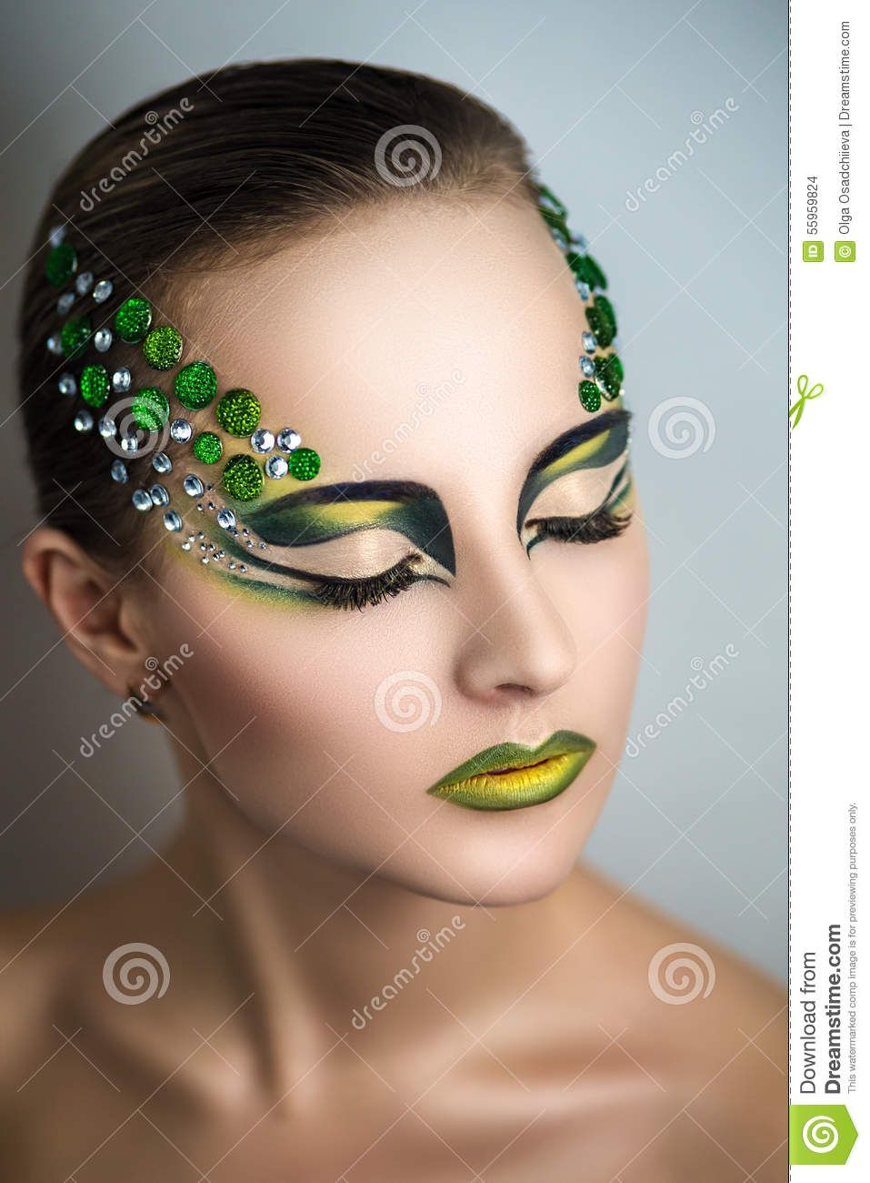 Woman With Green Make Up Download From Over 42 Million