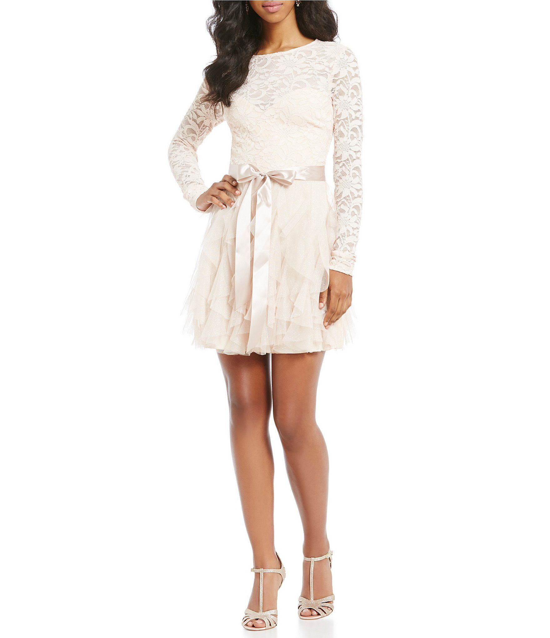 4963dc1927 Shop for Teeze Me Long Sleeve Lace Bodice Corkscrew Dress at Dillards.com.  Visit Dillards.com to find clothing
