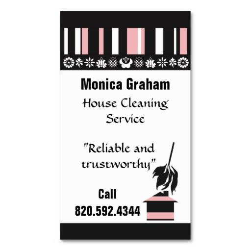 House Cleaning Retro Business Card Ez FillIn  Cleaning Business