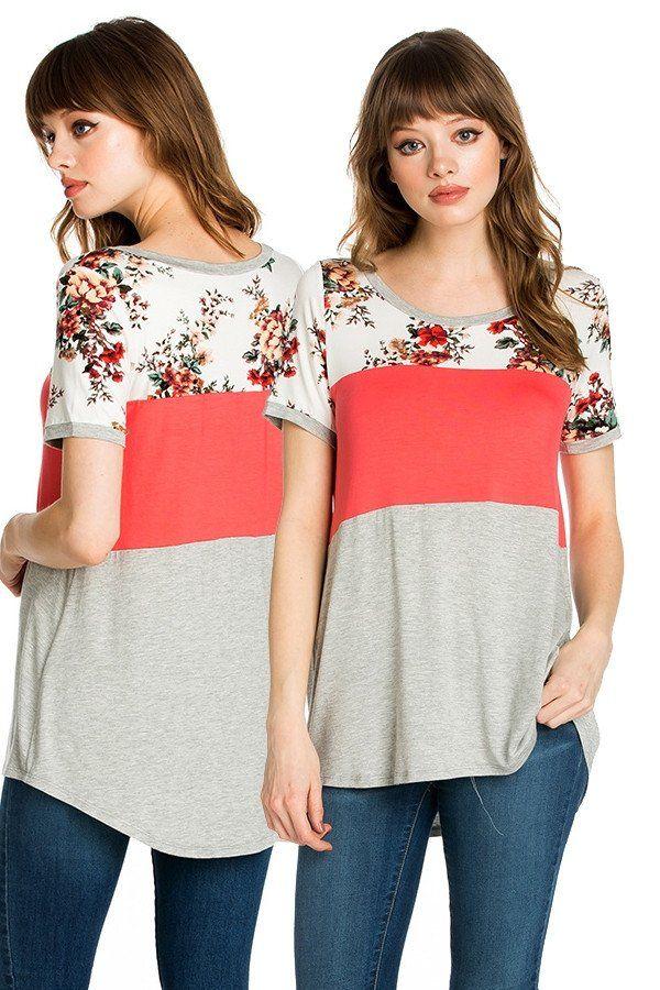 Coral Color Block Floral Print Fashion Top Fashion Tee - Preorder
