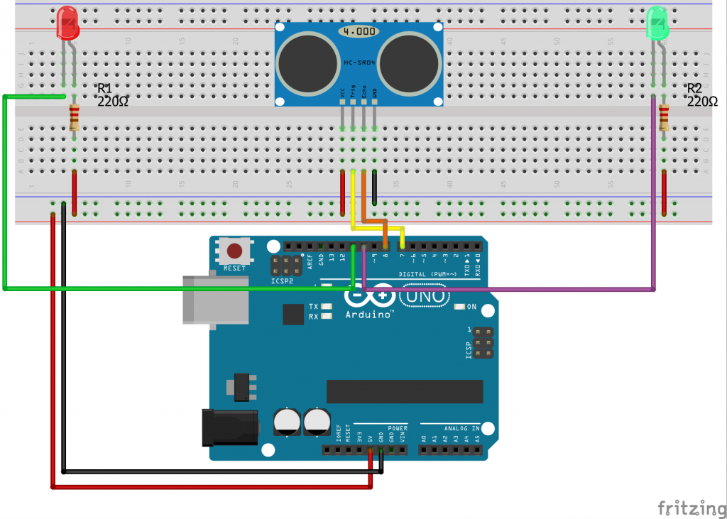 Light a bulb with arduino ultrasonic sensor hc sr04 technology when something is 5 cm away from the ultrasonic sensor hc sr04 module the fandeluxe Images