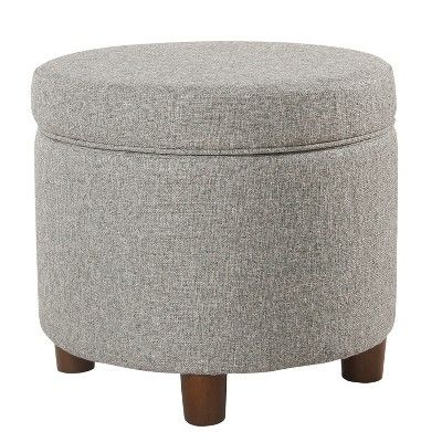 Tremendous Round Storage Ottoman Light Gray Tweed Homepop In 2019 Alphanode Cool Chair Designs And Ideas Alphanodeonline
