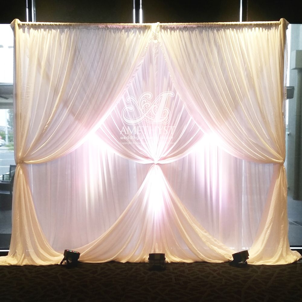 Wedding ceremony backdrop , 2 Layer curtain tied drapings