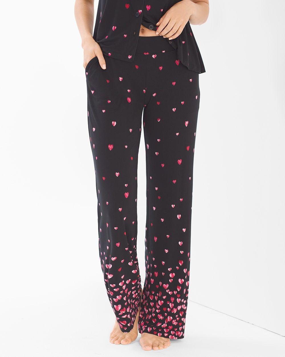 Soma Cool Nights Pajama Pants Floating Hearts Border Black 2ef5ed4e4