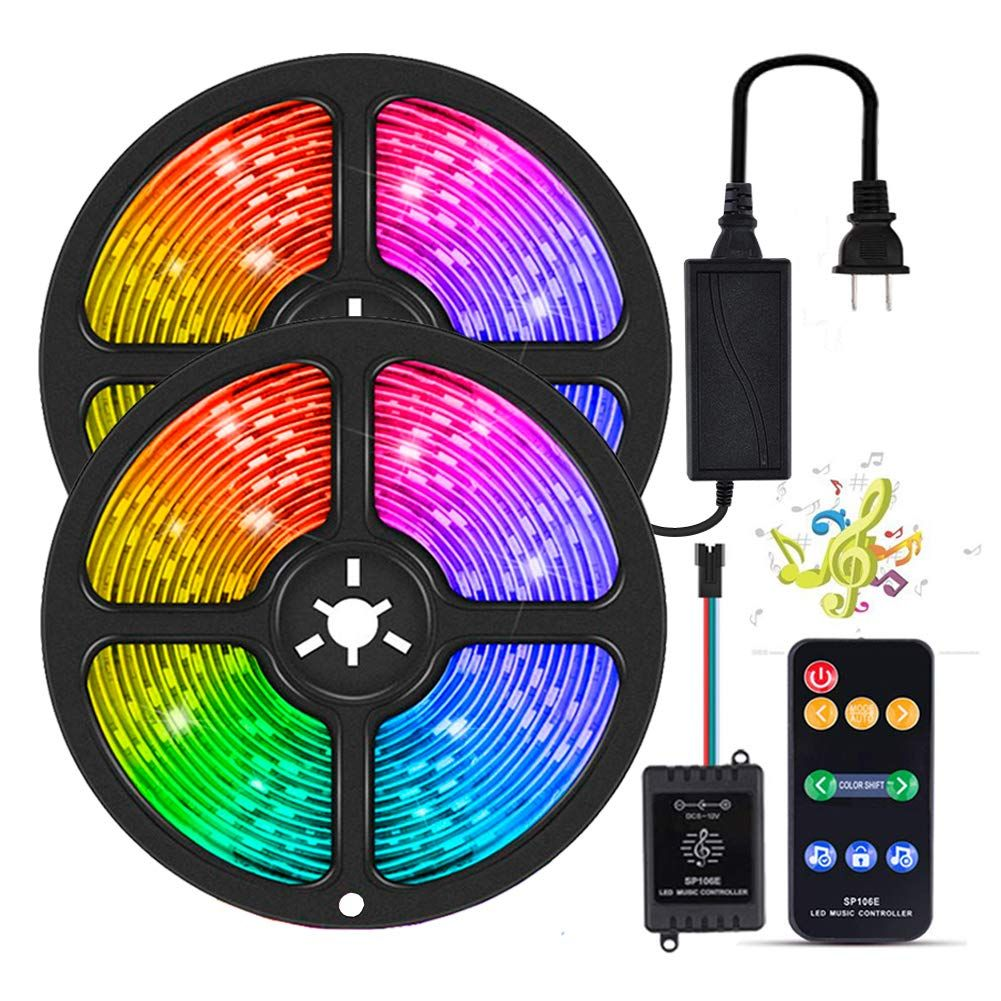 Yormick Led Strip Lights Sync To Music 10m 32 8ft Dream Color Music Lights Smd 5050 300 Led Waterproof Rgb Flexib In 2020 Led Strip Lighting Strip Lighting Led Color