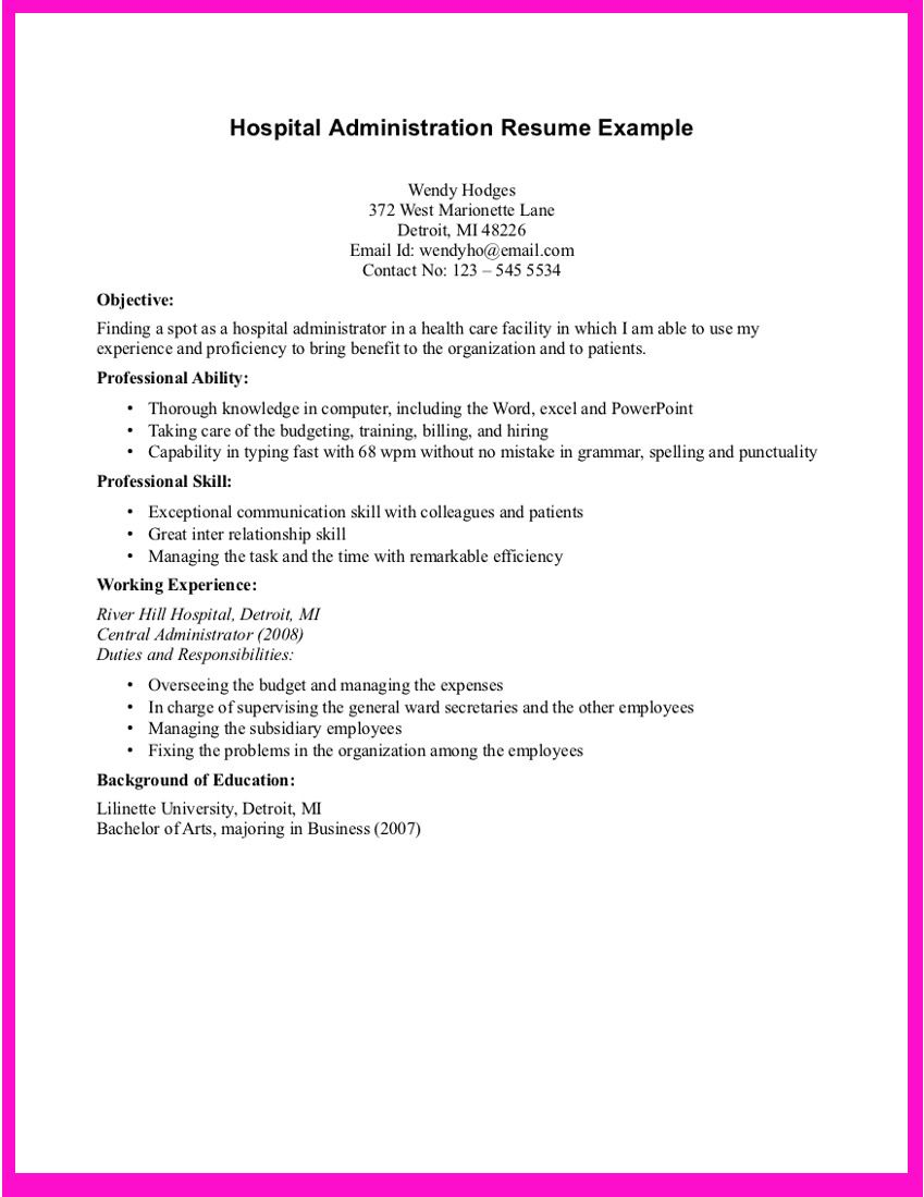 Resume For Hospital Job Example For Hospital Administration Resume  Example For Hospital
