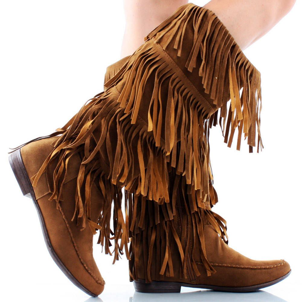 boho sandals | Brown-Suede Boho Fringe Layer Women Flat Knee High ...