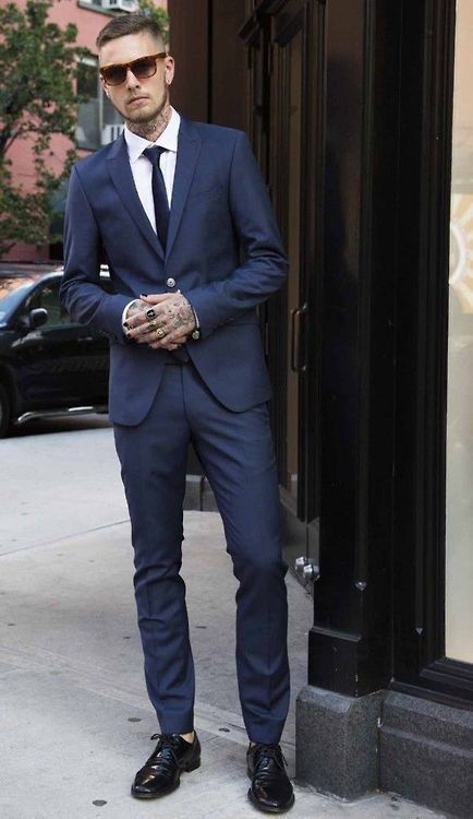 Navy Suit Tortoise Shell Glasses Black Shoes Mad Men Stylin