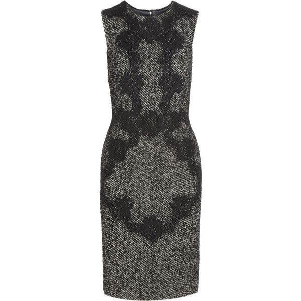 Dolce & Gabbana Lace-appliqué wool-blend tweed dress (€1.695) found on Polyvore