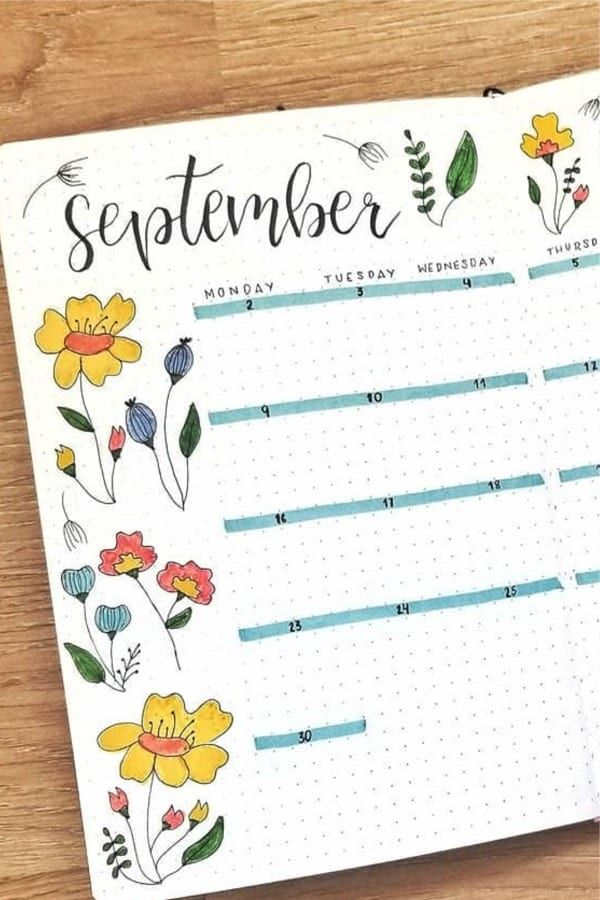 40 Best September Monthly Spread Ideas For 2020 - Crazy Laura