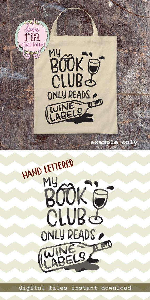 Libro Club Lee Vino Etiquetas Divertido Gracioso Amante