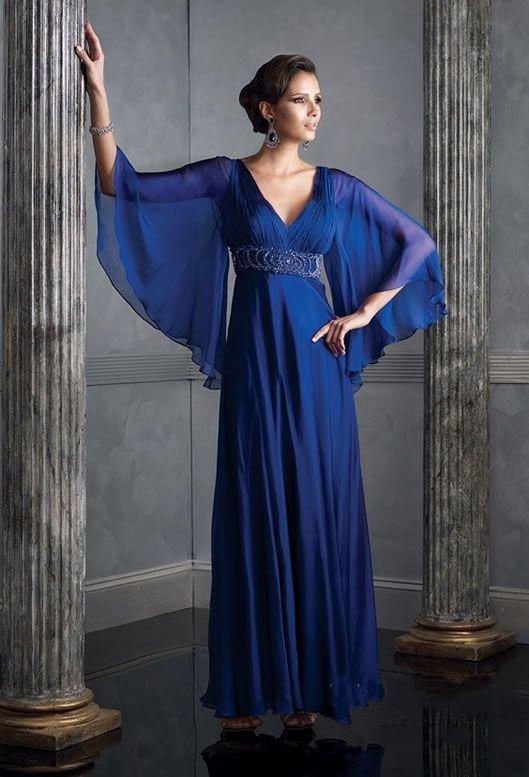 Cool Styles V Neck Beaded Royal Blue Evening Dress