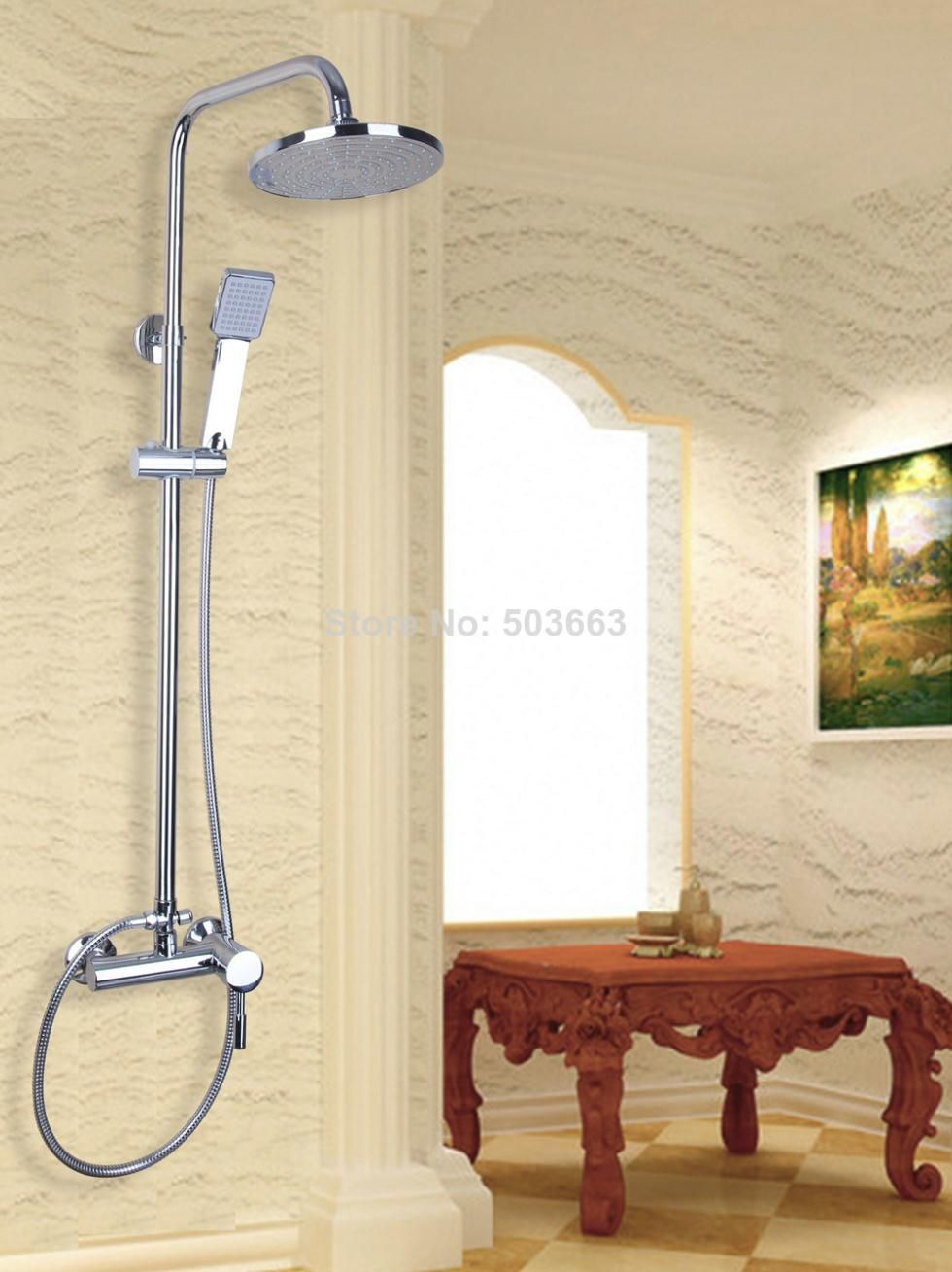 53207 Round Wall Mounted Rain Shower Faucet Set 8\