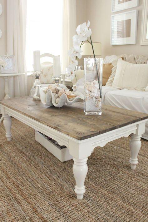 DIY: Distressed Wood Top Coffee Table   Starfish Cottage White Distressed Coffee  Table, French