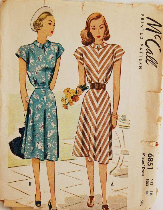 Vintage 1940s sewing pattern
