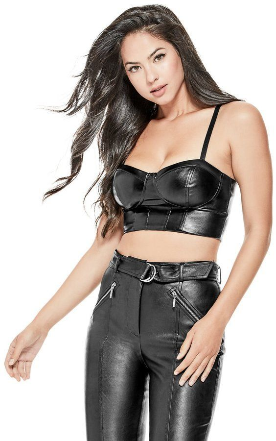 1a87b4429f GUESS Women s Faux-Leather Bustier Top