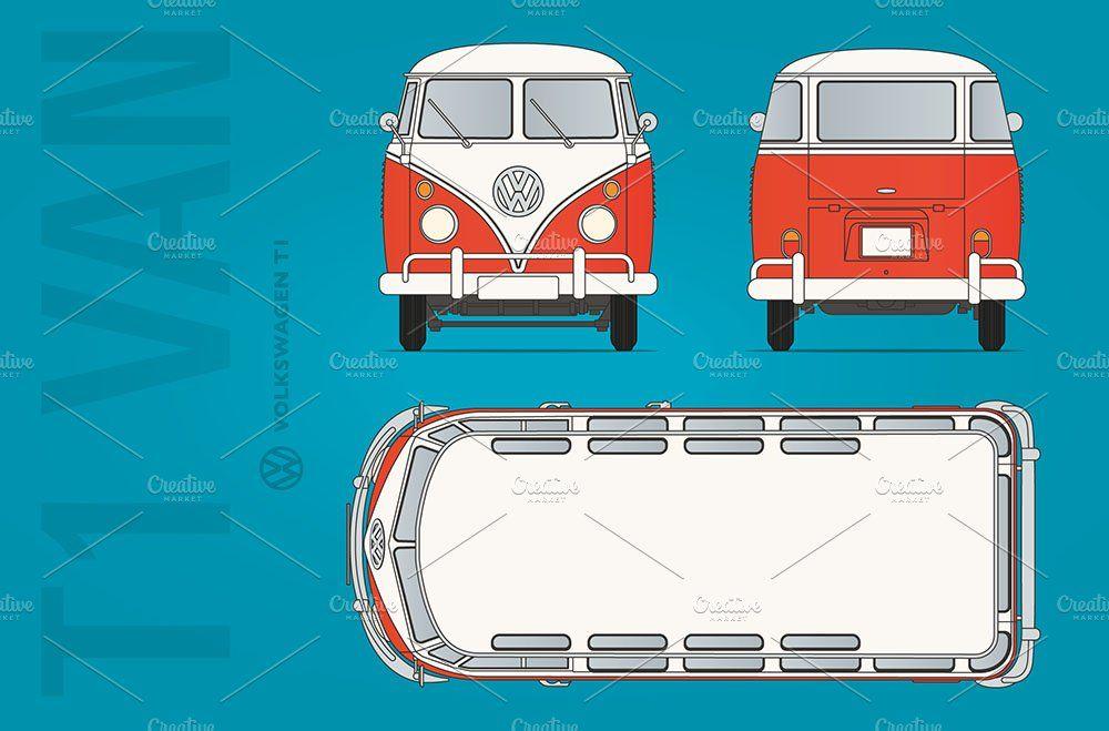 Vw T1 Van Blueprint In 2020 Van Blueprints Vw Van