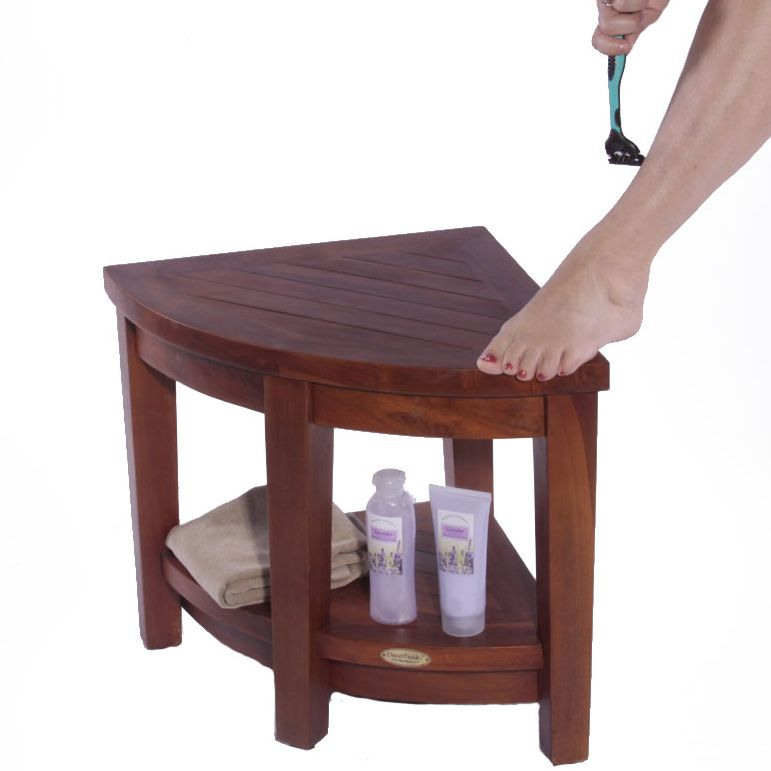 Oasis™ FULLY ASSEMBLED Corner Teak Shower Chair Bench With Shelf ...