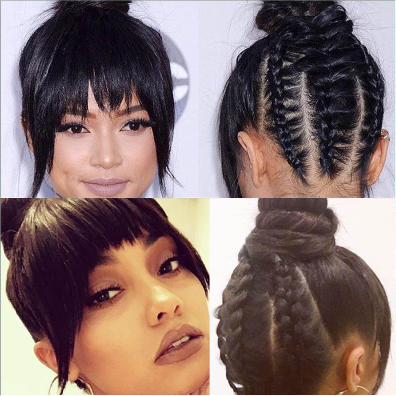 Hair trend high bun with cornrows karrueche tran u leighanne