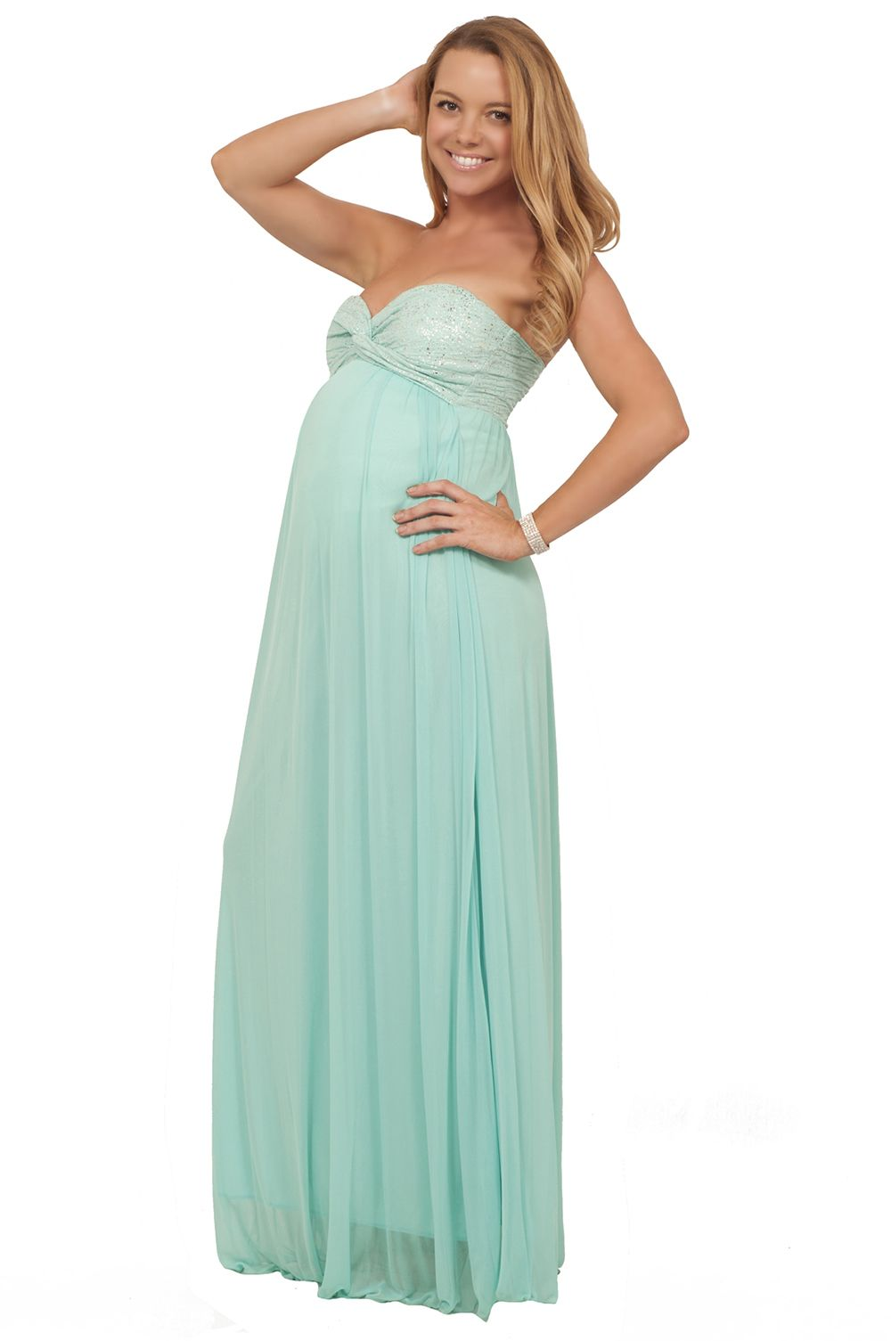 Maternity Metallic Strapless Twisted Empire Waist Formal Special