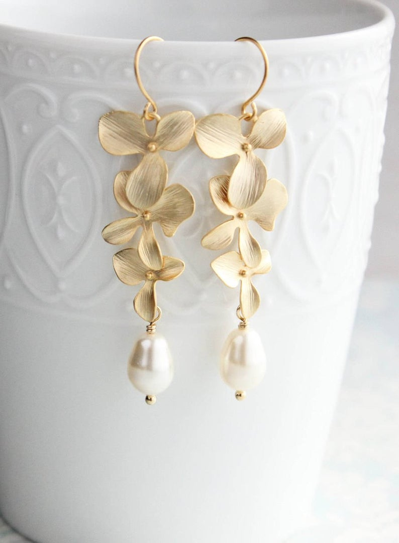 Rose Gold Orchid Earrings Long Flower Dangle Pearl Drops Etsy Orchid Earrings Gold Bridal Earrings Flower Earrings Gold
