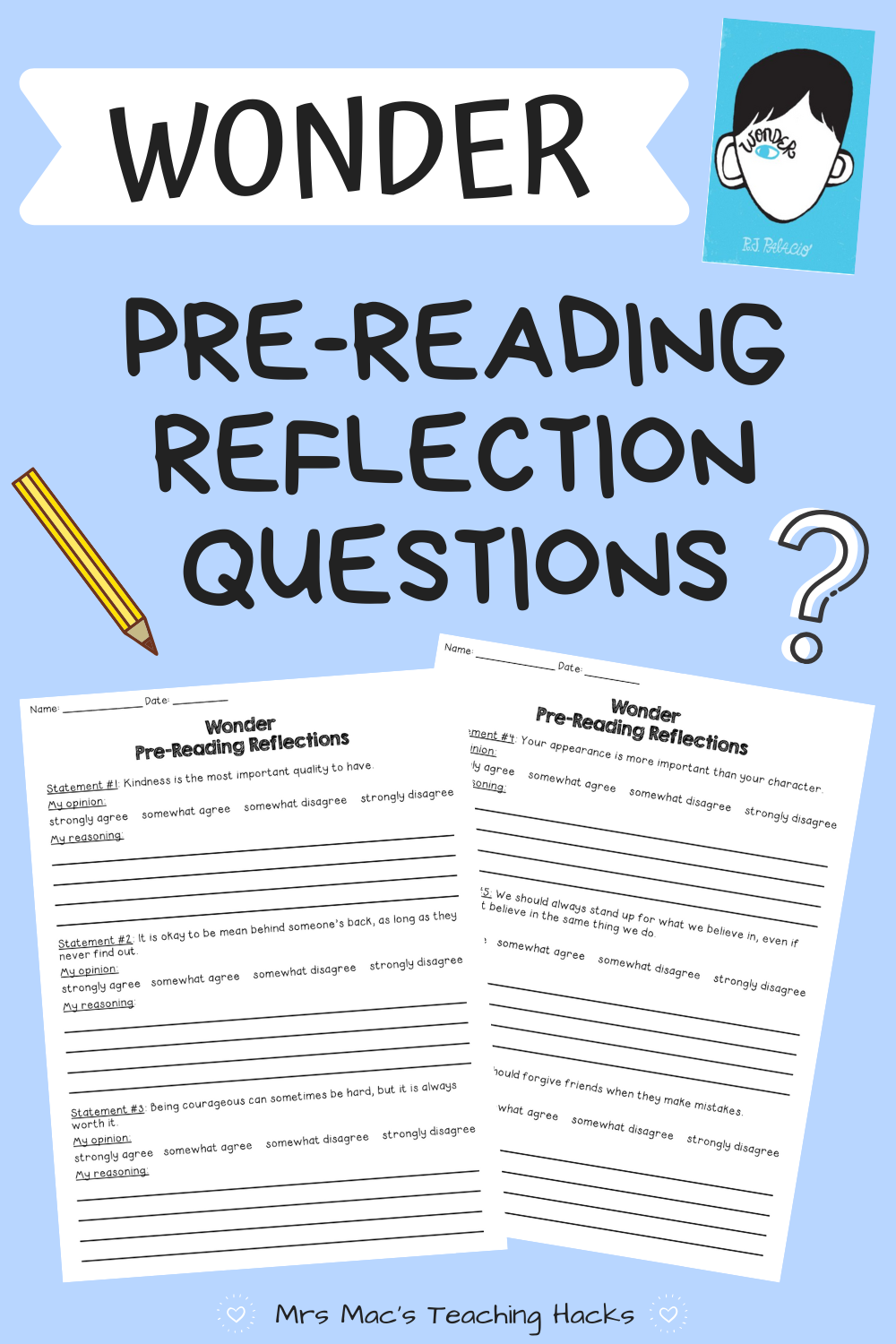 Wonder Pre Reading Reflections Reflection Questions This Or That Questions Reading [ 1500 x 1000 Pixel ]