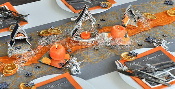 Weihnachten Orange Grau Anniversary Party Idea Tischdeko