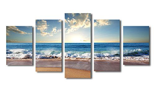 Canvas wall art Sunset Beach Blue Waves Ocean Art Large Modern Artwork Canvas...