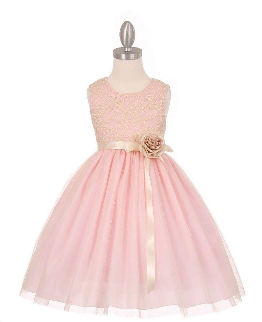 Elegant Contrast 3D Stretch Lace Tulle Flower Girl Dress   Damitas ...