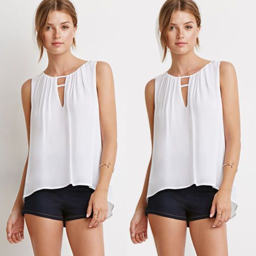 2015 Summer Sexy Fashion Women Casual White Sleeveless Tops ...