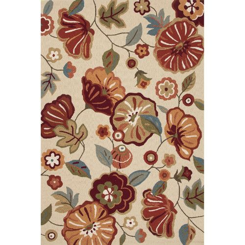blossom polyester hand tufted ivoryred area rug rug size x