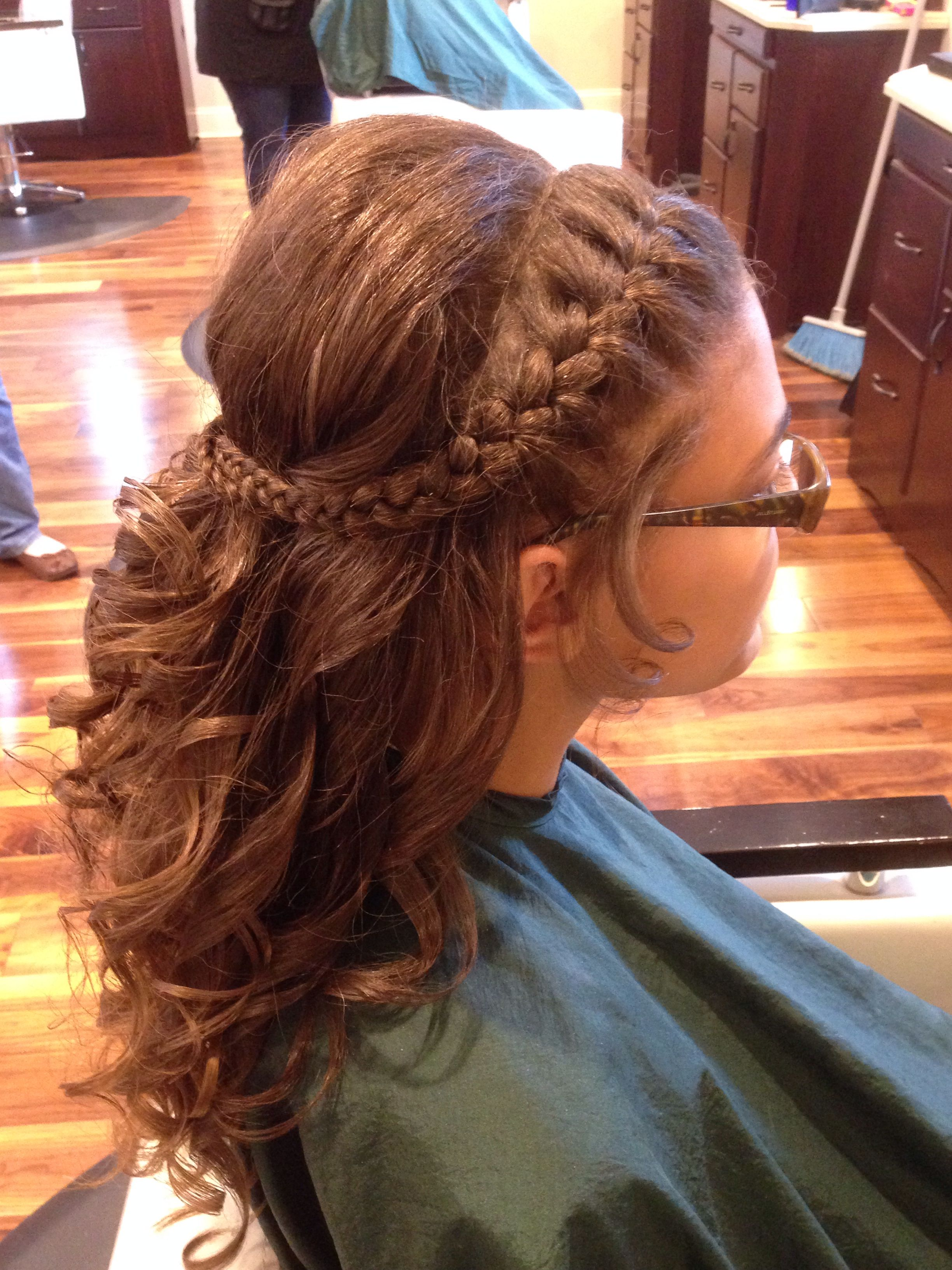 Up Do For Eighth Grade Dinner Dance Braid And Curls Dance Hairstyles Braids With Curls Grad Hairstyles