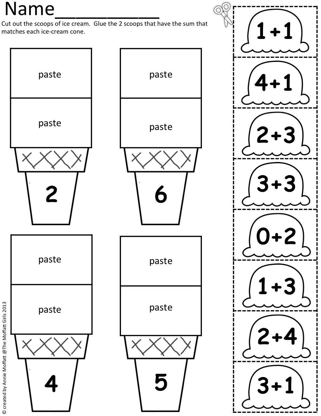 {Math Scoops Cut and paste addition up to 20 – Cut and Paste Addition Worksheets