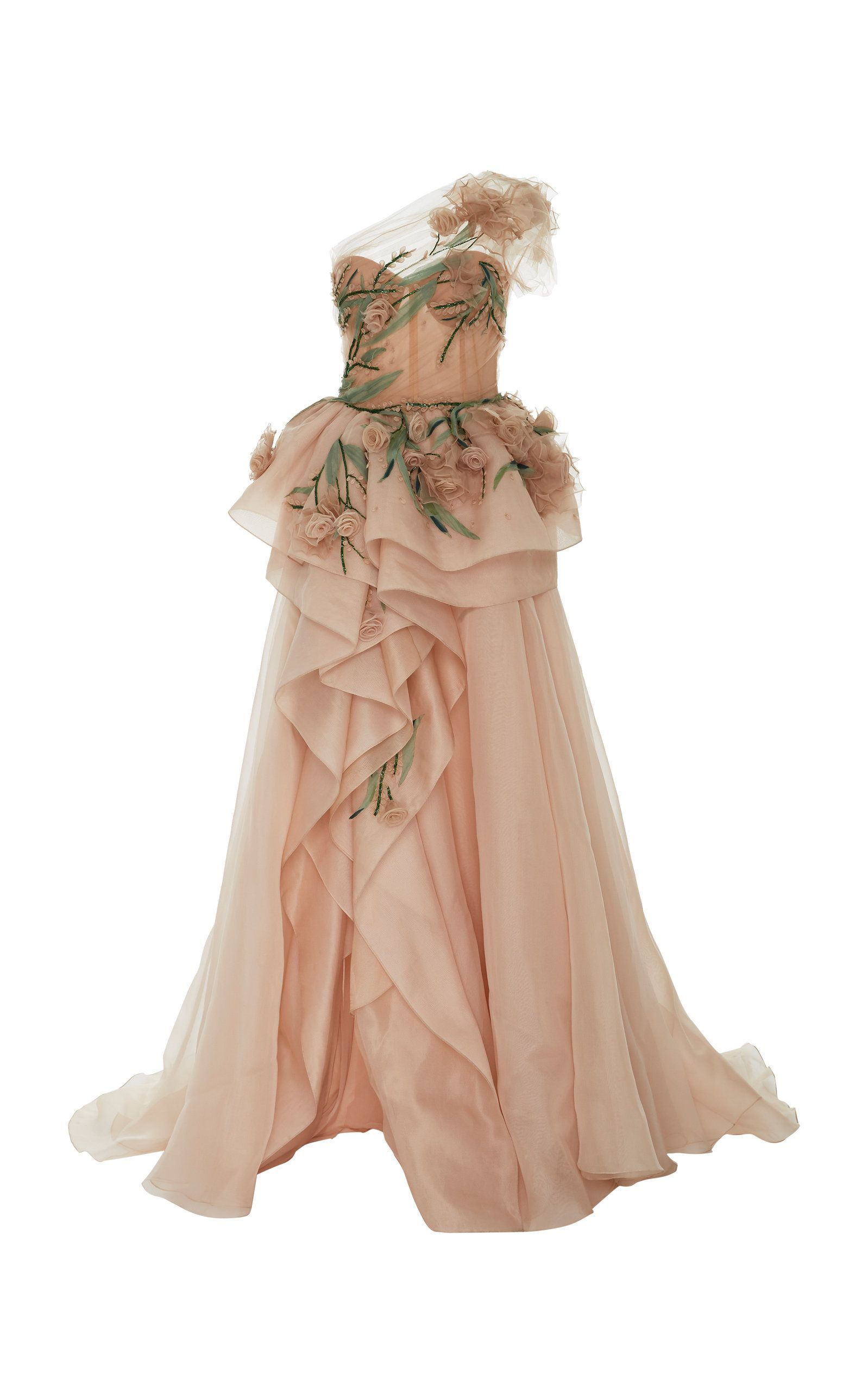 MARCHESA ONE SHOULDER GOWN WITH 3D ORGANZA FLOWERS. #marchesa #cloth #