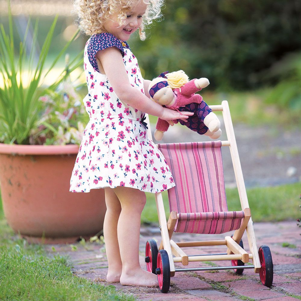 Doll stroller strawberry stripe Wooden dolls, Dolls