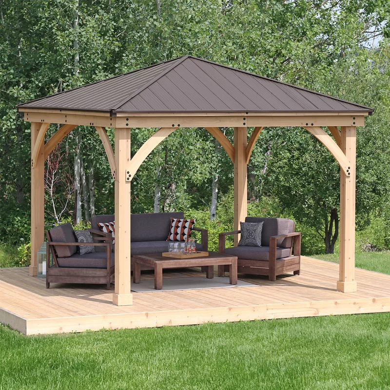 Meridian 12 Ft W X 12 Ft D Solid Wood Patio Gazebo In 2020 Patio Gazebo Pergola Patio Pergola